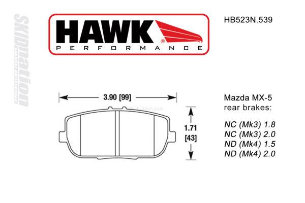 Hawk HB523N.539 rear brake pads Mazda MX-5