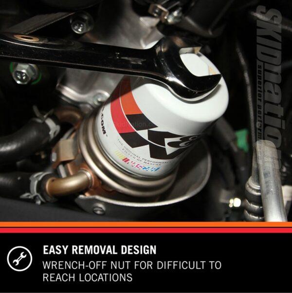 K&N HP-1002 oil filter easy removal design