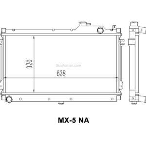 Mazda MX-5 NA SkidNation aluminium radiator dimensions