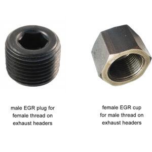 EGR exhaust headers plug cup